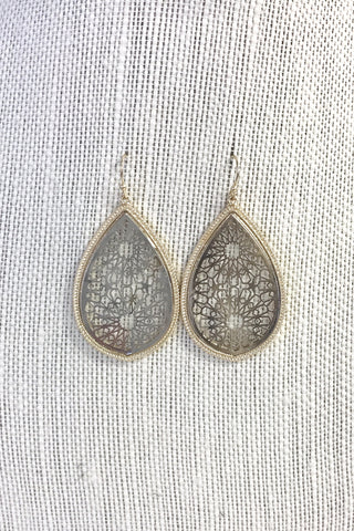 Silver Two-Tone Filigree Earrings