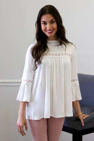 Indie Ivory High Neck Crochet Trim Top