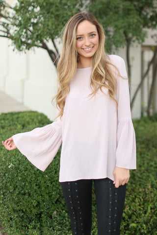 Isa Blush Bell Sleeve Top