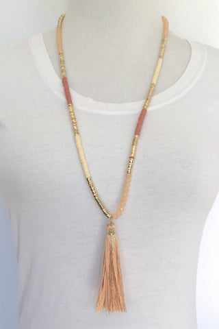 Jewelry - Coral/Ivory Beaded Chain Tassel Necklace
