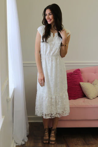 Jazmine White Lace Midi Dress