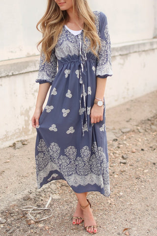Julia Blue/White Floral Print Maxi Dress