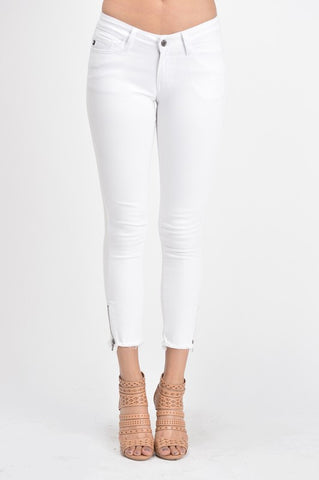 Tatum White Frayed Hem Ankle Zip Jeans