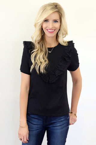 Lara Black Ruffle Top