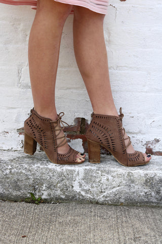 Lennon Taupe Lace-Up Sandals