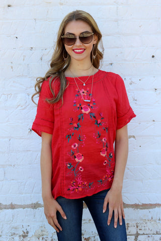 Mikayla Red Embroidered Top