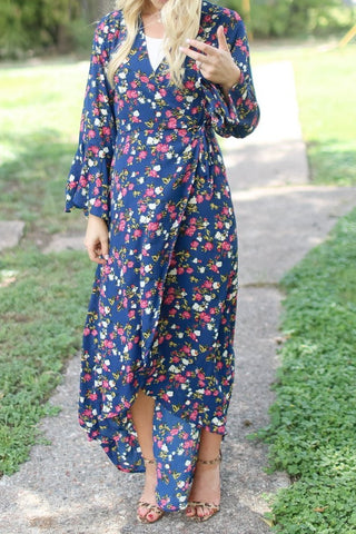 Miranda Blue Floral High-Low Wrap Maxi