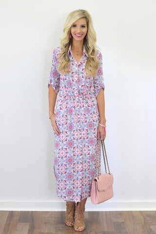 Misha Printed Midi Shirtdress