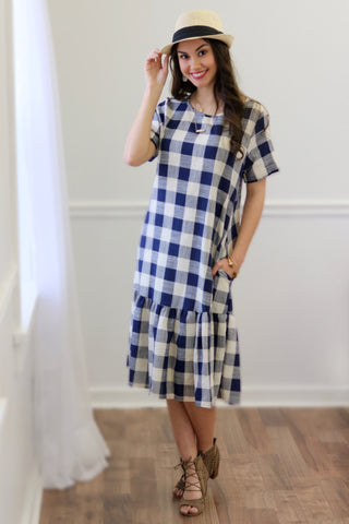 Nadine Navy Plaid Drop Waist Midi Dress
