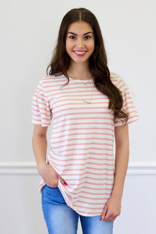 Olivia Pink Stripe Ruffle Sleeve Top