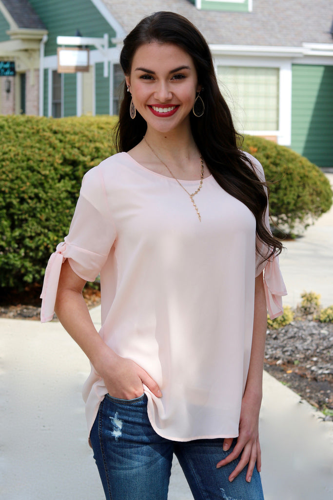 Paige Blush Tie Sleeve Top