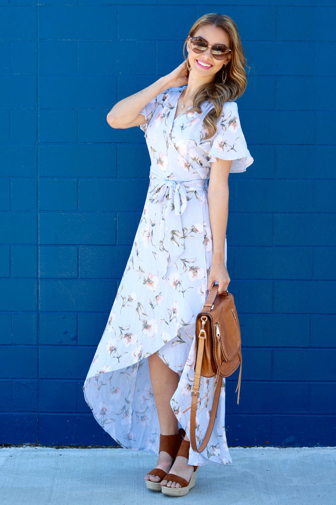 Paislee Blue Floral Linen Wrap Maxi Dress