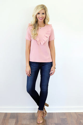 Poppy Pink Ruffle Top