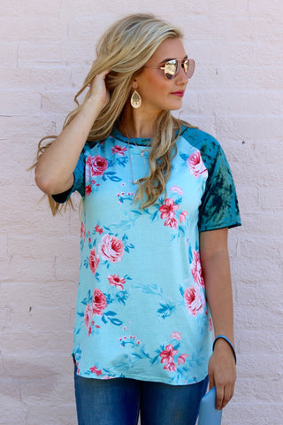 Remi Mint Velvet Sleeve Floral Top