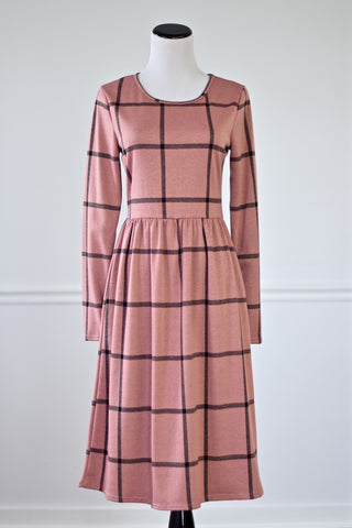 Rosie Pink and Black Windowpane Print Midi Dress