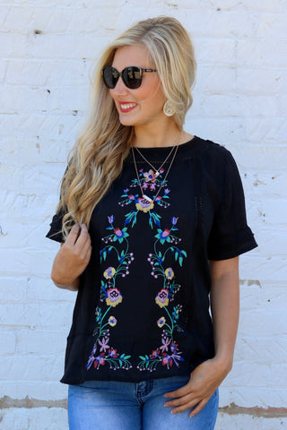 Sofia Black Embroidered Top