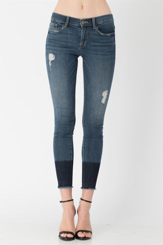 Easton Two-Tone Dipped Hem Skinny Jeans