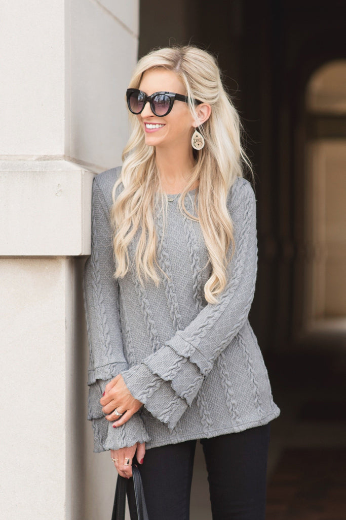 Gigi Grey Cable Knit Ruffle Sleeve Sweater