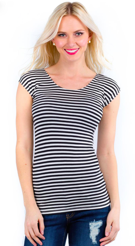 Top - Striped Seamless Layering Tee