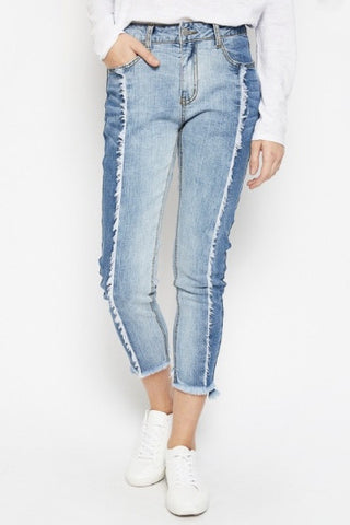 Avery Two-Tone Fringe Denim