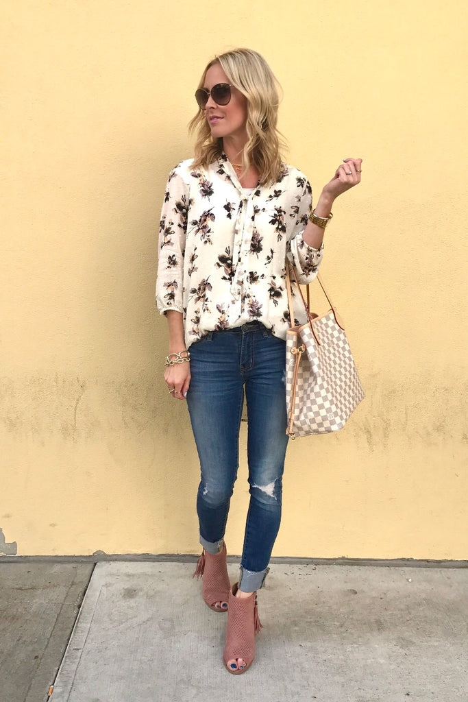 Maxwell Ivory Floral Tie Top