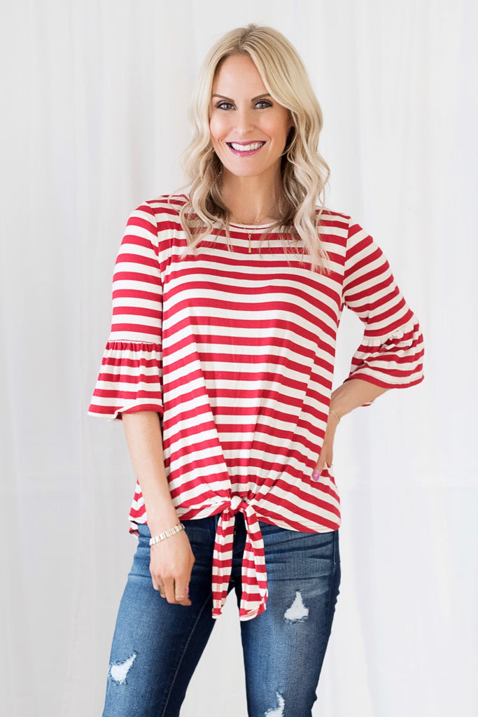 Vanessa Red and White Striped Tie Front Top