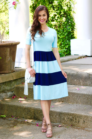 Evie Blue and Navy Colorblock Midi Dress