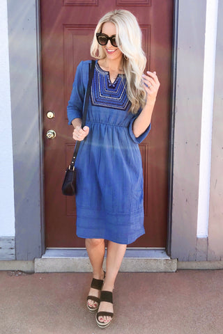 Shelby Blue Embroidered Front Midi Dress