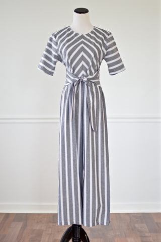 Courtney Charcoal/White Striped Jumpsuit