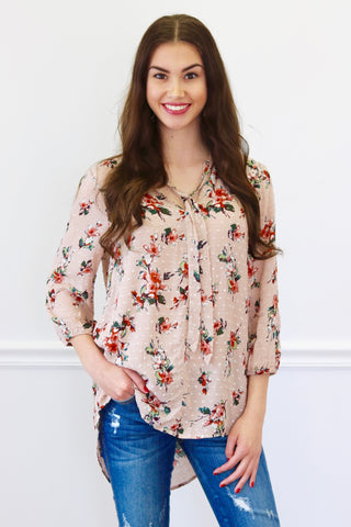 Katrina Dusty Rose Floral Tie Top