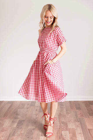 Ginger Red and White Gingham Midi Dress