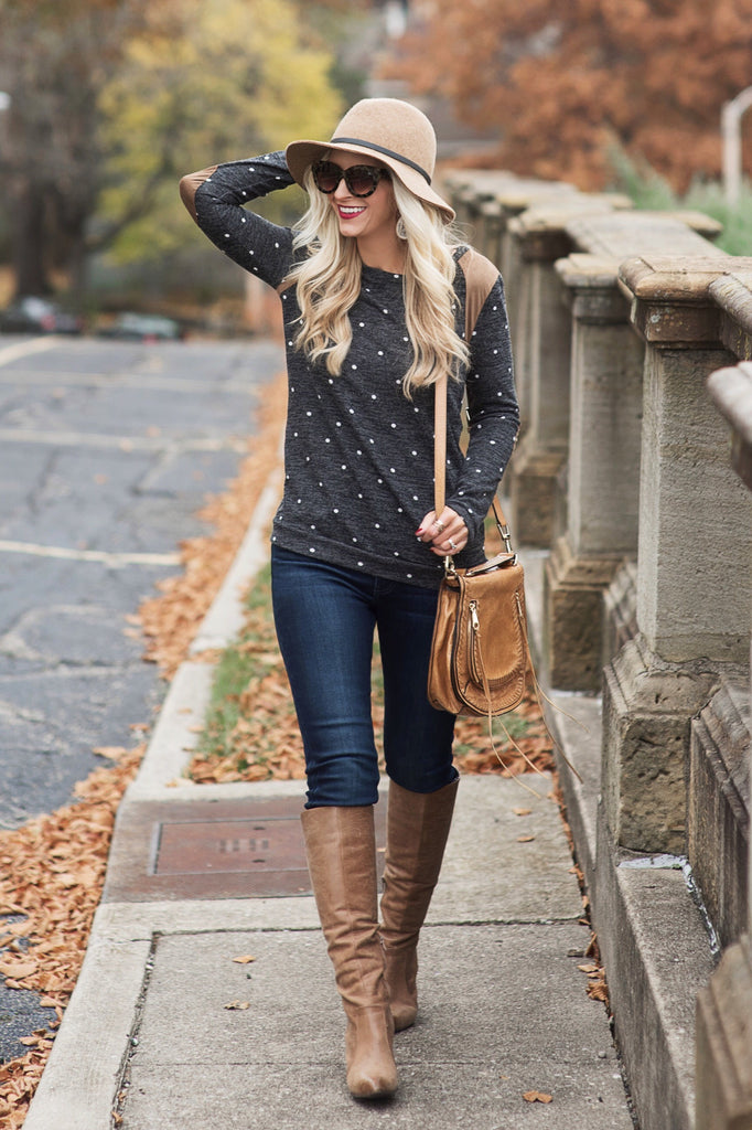 Sheri Charcoal Polka Dot Sweater
