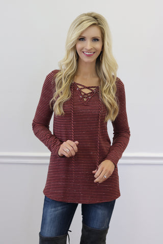 Leanne Light Red Lace-Up Top