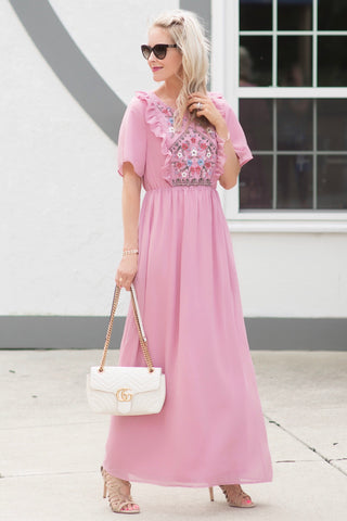 Hannah Pink Embroidered Maxi Dress