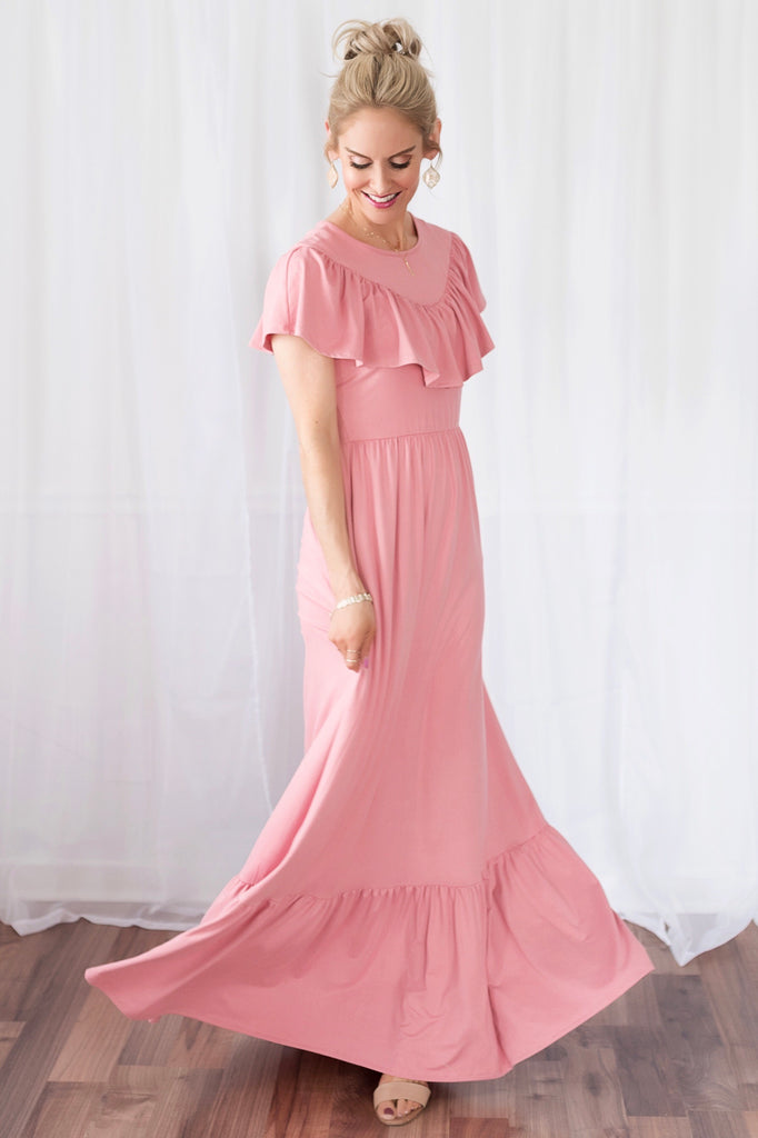 Serena Pink Ruffle Maxi Dress