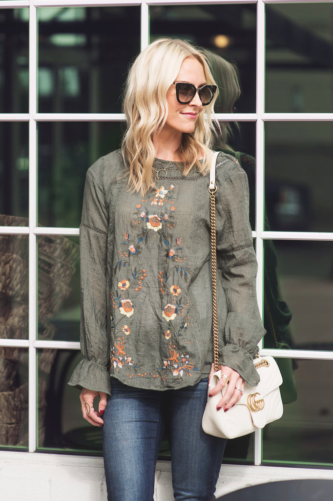 Katie Olive Embroidered Top
