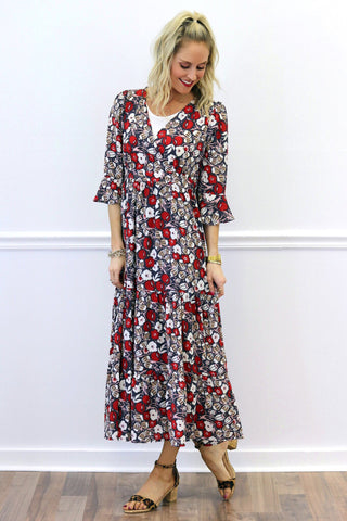 Camryn Red Floral Maxi Dress