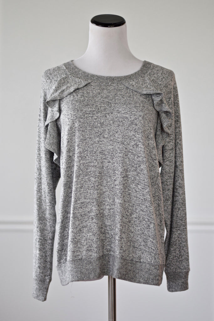 Cora Heather Grey Ruffle Sweater