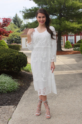 Jillian White Lace Midi Dress
