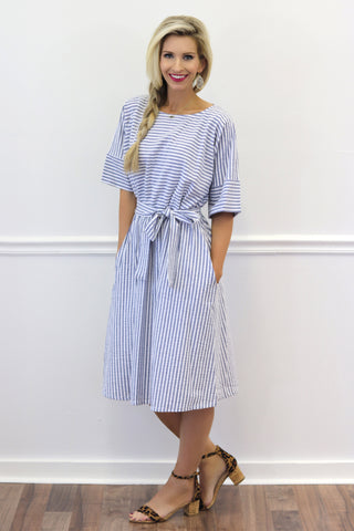 Sydney Striped Midi Dress