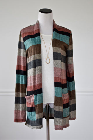 Anna Multi-Stripe Open Cardigan
