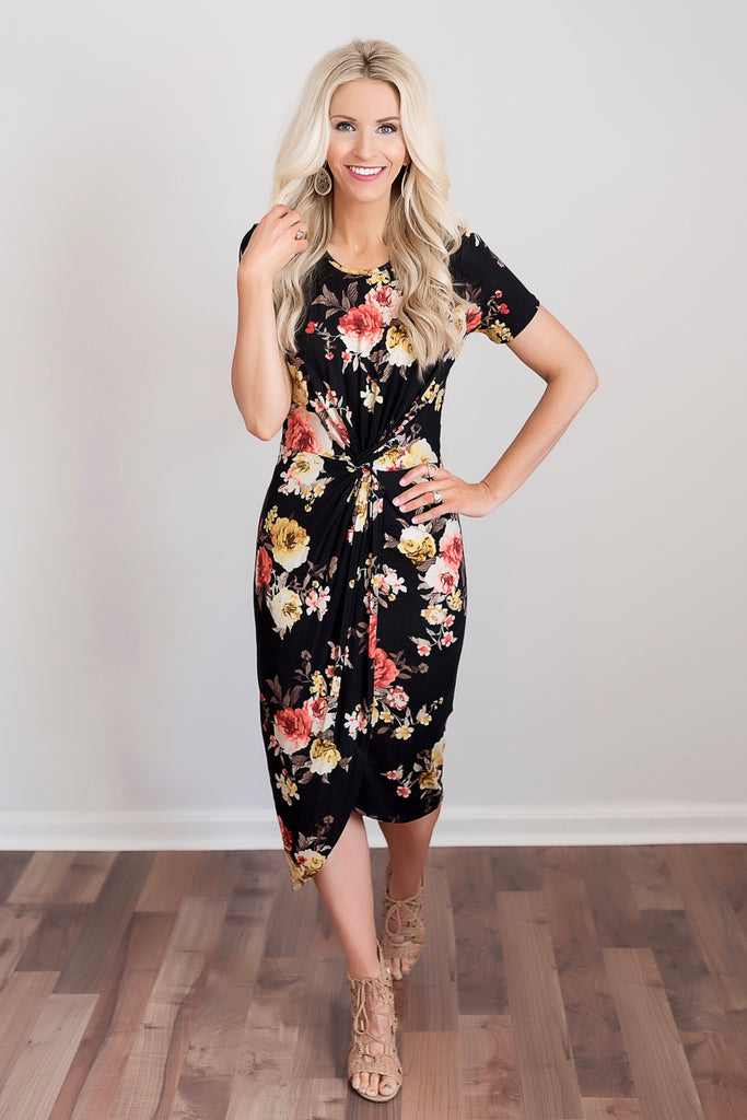 Erin Black Floral Knotted Midi Dress