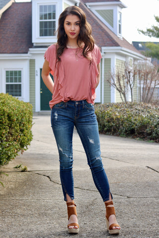 Savanna Dusty Rose Ruffle Tee