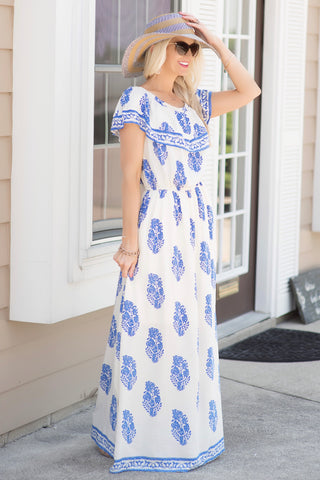 1dda89a29d7 Shannon Ivory and Blue Floral Maxi