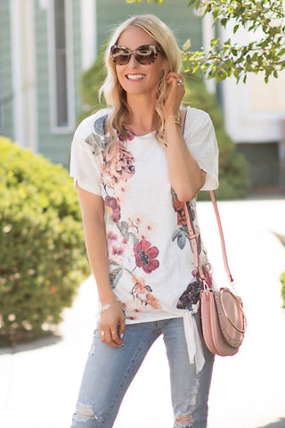 Cameron White Floral Side Tie Top