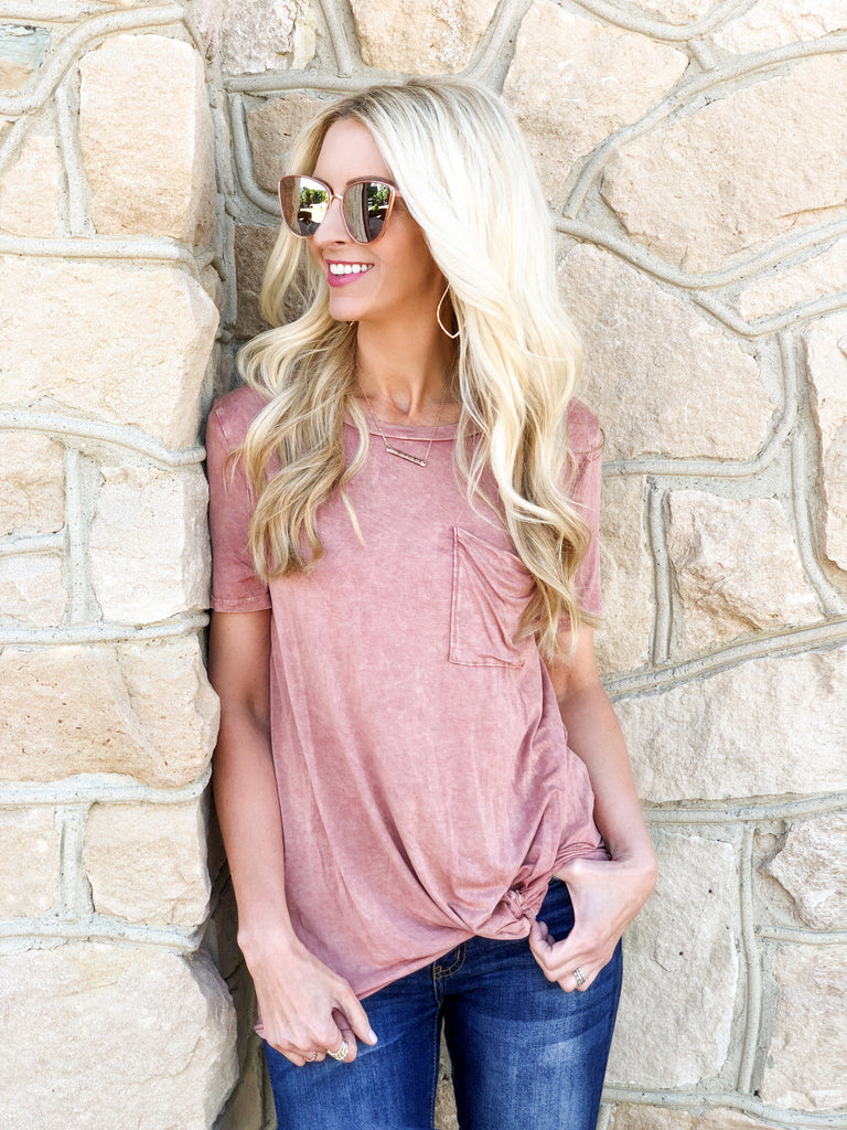 Carly Pink Distressed Tee