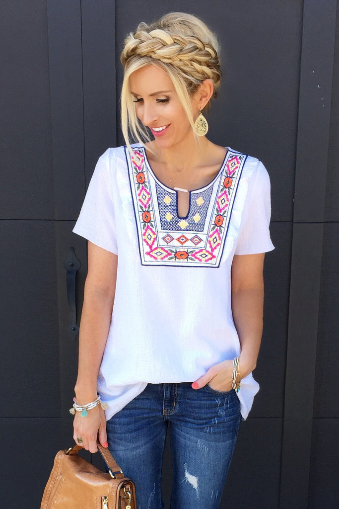 Sutton White Embroidered Top