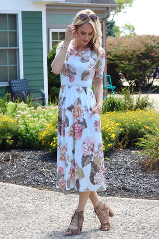 Vanessa Light Blue Floral Midi Dress