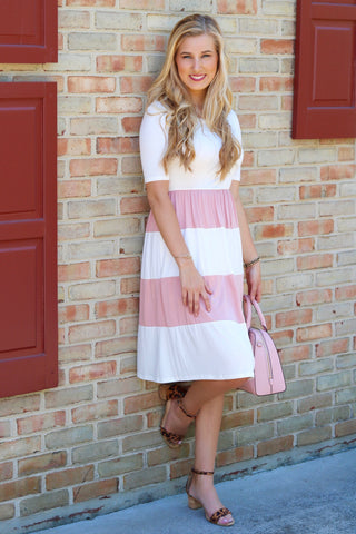 Hazel Ivory and Blush Colorblock Midi Dress