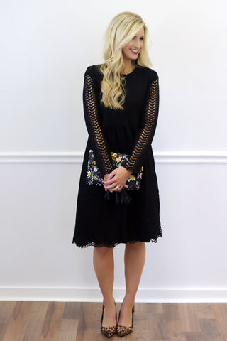 Irina Black Lace Midi Dress